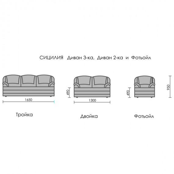 Разтегателен диван Сицилия двойка – PARALLEL 4